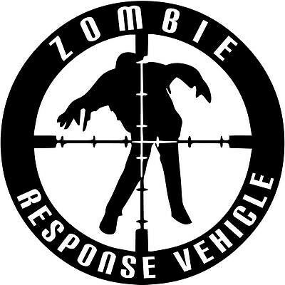 """RESPONSE VEHICLE ZOMBIE Vinyl Decal Sticker-6/"""" Wide White Color"""