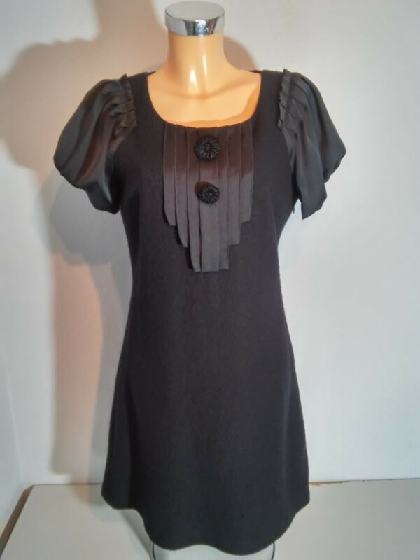 Apanage Femme Kleid Etuikleid Gr. 38 Schwarz Wolle + Satin Kurzarm Neu