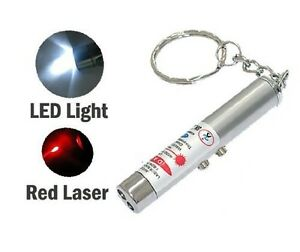 NEW-2-in-1-Laser-Lazer-Pen-Pointer-Keychain-Keyring-With-torch-Cat-Dog-Toy-UK