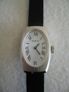 NOS-NEW-VINTAGE-MECHANICAL-HAND-WINDING-ST-STEEL-ANALOG-EDELE-WOMEN-039-S-WATCH-60-039-S