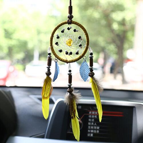 USA Yellow Feather Dream Catcher Handmade Hanging Ornament Home Room Decor Craft