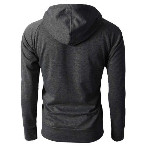 Men Winter Slim Hoodie Warm Hooded Sweatshirt Coat Zip Up Outwear Sweater Jacket