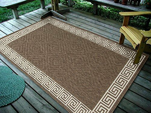 6 7 X9 7 Contemporary Geometric Brown Indoor Outdoor Area Rug