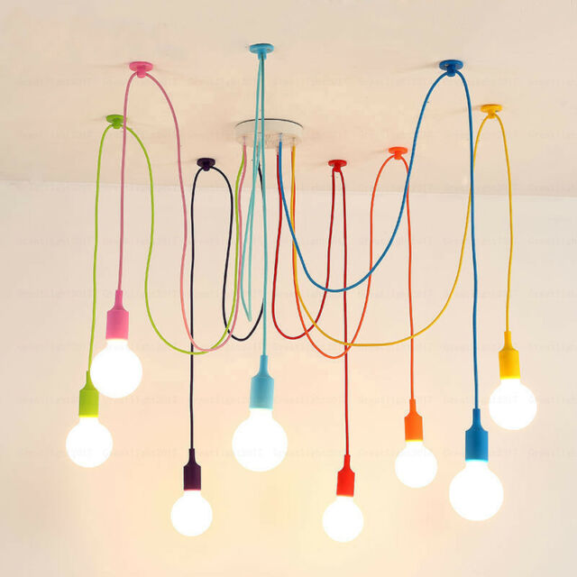 Us Stock Art Colorful Pendant Lights Diy Spider Chandelier Silicone Hanging Lamp