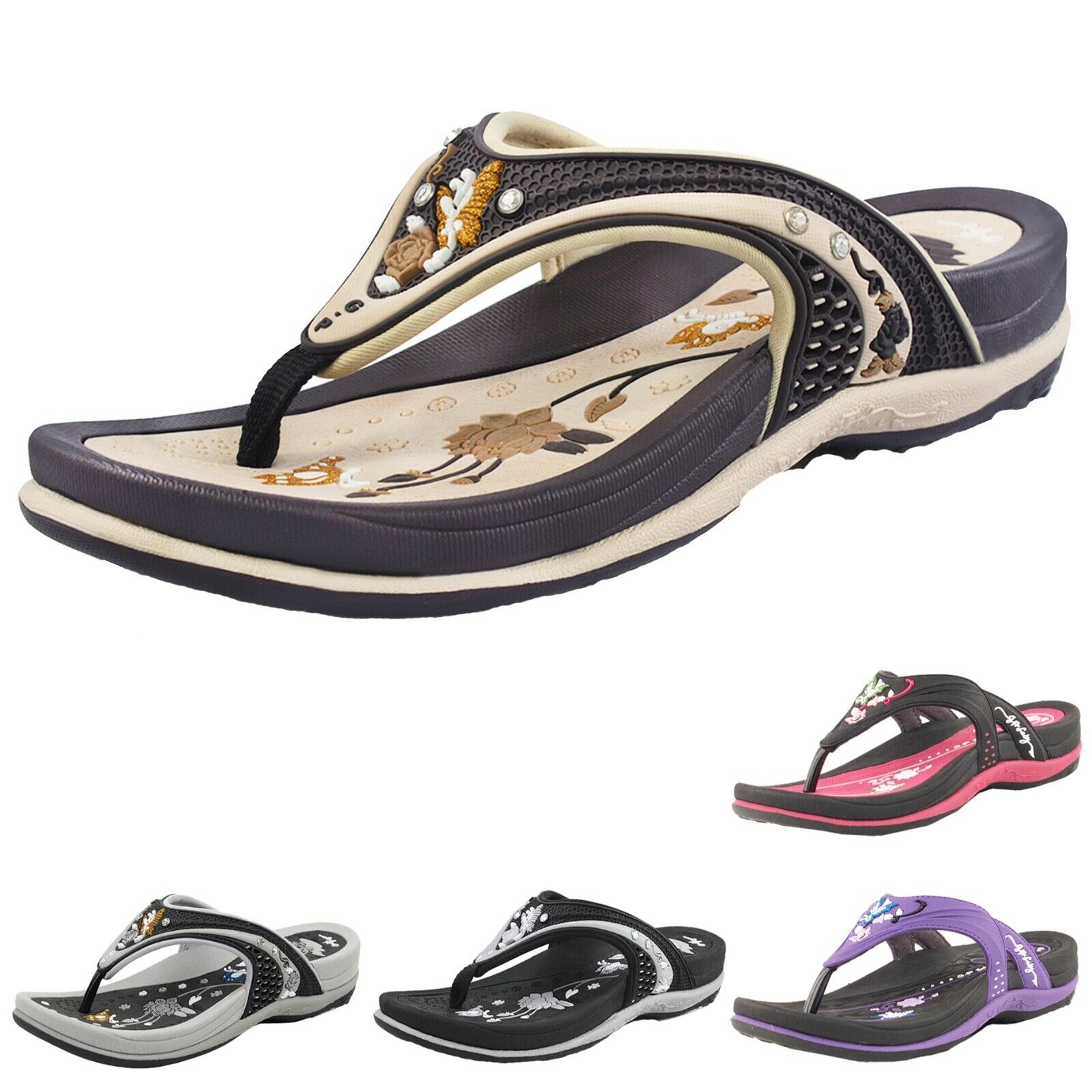 Comfort Ergonomic Slip-Resistant Waterproof Platform Cushion Flip Flops Sandals