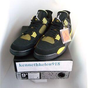 Nouveau 2012 Nike Air Jordan IV 4 Retro Thunder Noir Jaune 308497 ...
