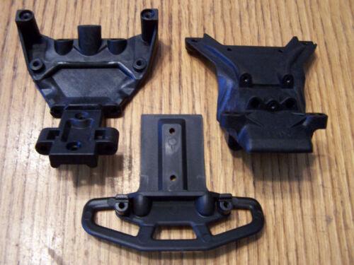 5507 Traxxas 3.3 Jato Front Upper /& Lower Bulkhead with Skid Plate Bumper