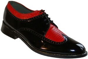 Mens-Black-and-Red-Formal-Spectators-Wingtip-Shoes