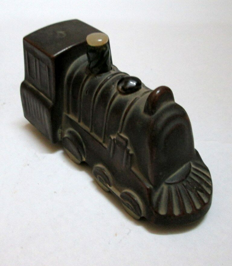 Vintage Antique Beautiful Engine Toy Made Of Copper With Fitted Stones On Top