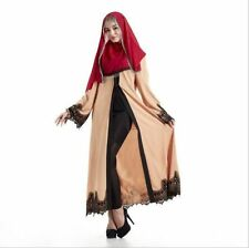 Muslim Women Dusty-Pink Cardigan Lace Open Front Abaya Jilbab Islamic Maxi Dress