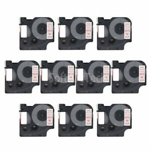 10pk-Red-on-White-Label-Tape-Compatible-for-DYMO-45015-D1-12mm-1-2-034