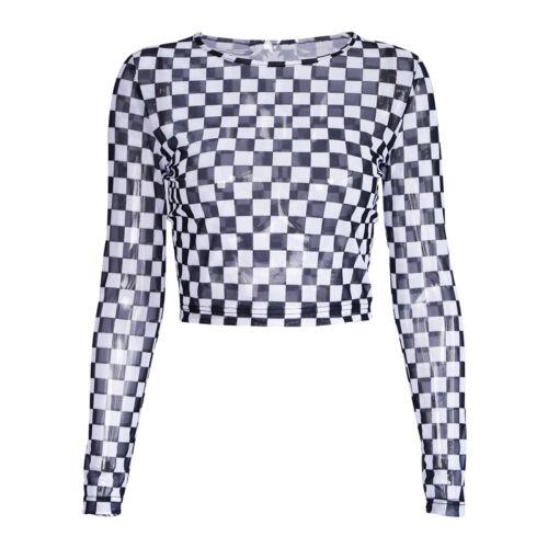 Fashion Women Blouse Checkered Checkerboard Check Sheer Mesh T-Shirt Tops