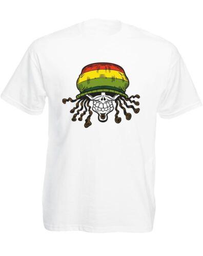 Rasta Skull Mens Printed T-Shirt