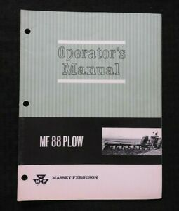 1965-MASSEY-FERGUSON-MF-88-MOLDBOARD-PLOW-OPERATORS-MANUAL-NICE-SHAPE