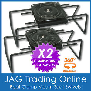2-x-CLAMP-ON-BOAT-SEAT-SWIVEL-MOUNT-BASES-ADJUSTABLE-Tinnie-Tinny-Bench-Seats