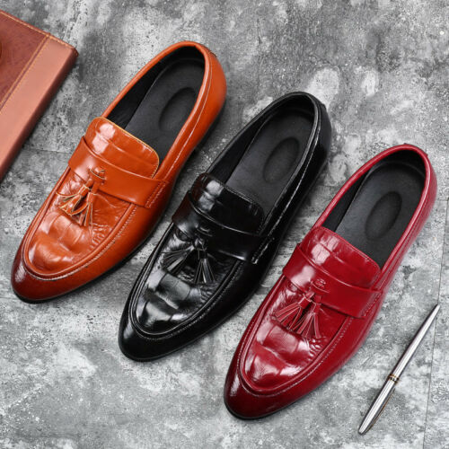 Mens Dress Formal Leather Shoes Casual Driving Loafers Pointy Toe Tassel Slip on