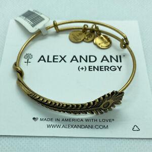 (2) Alex And Ani Peacock Feather Bangle Charm Bracelets Rafaelian Gold Finish