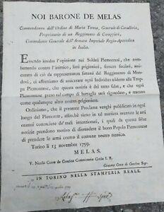 1799 TORINO BANDO DEL BARONE MELAS SULLE FUCILAZIONI DEI PRIGIONIERI PIEMONTESI
