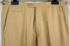 UNIQUE_NWT_$495 ISAIA HAND_CRAFTED_COTON_BELTLESS_FLAT_FRONT_STRAW-TAN W36 12732