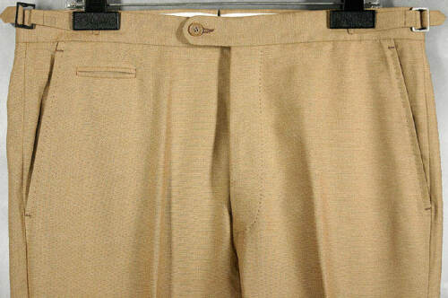 W36 Hand coton Unique nwt straw Isaia tan beltless crafted 12732 495 flat front qttgPxXwr
