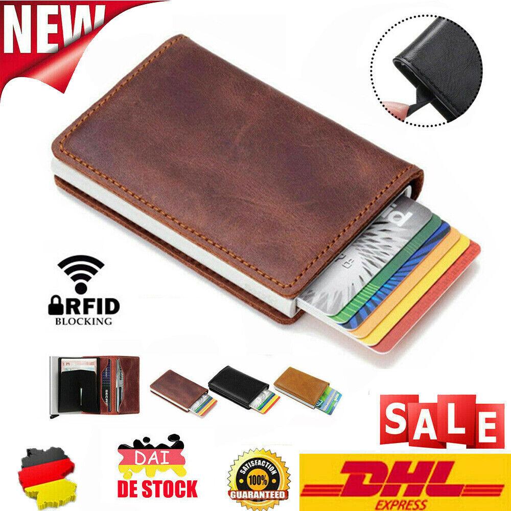 Kartenetui Geldbörse Mini Carbon/Leder RFID Block Kreditkarten Schutz Wallet