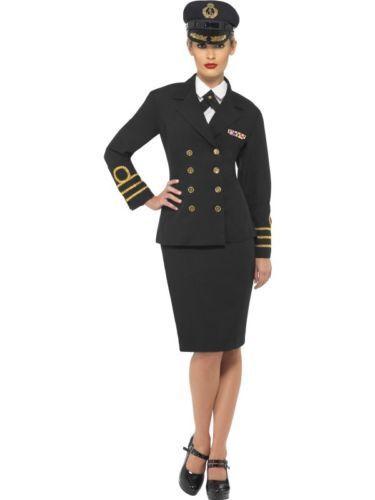 Women/'s Black Fancy Dress Navy Officer Jacket Skirt Hat Hen Military Theme Fun