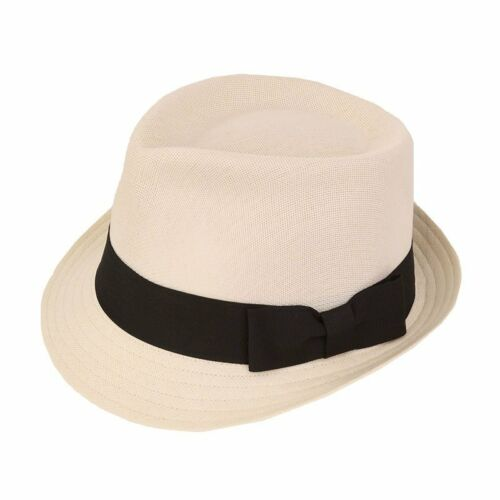 FREE post 1st class. Quality Ivory Trilby Hat With Black Band 5 sizes