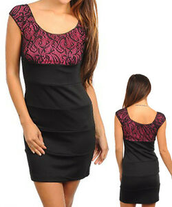 Women-Black-Pink-Lace-Sheath-Corporate-Dress-Size-8-S-10-M-12-L-14-XL-NEW