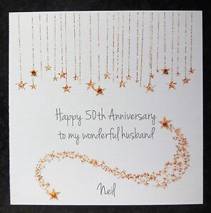 personalised handmade on our 50th golden wedding anniversary card