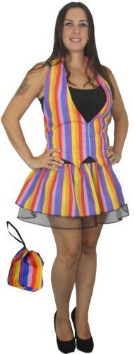 Size 8-14 Rainbow Stripe Waistcoat Pleated Tutu skirt and Pouch Fancy Dress
