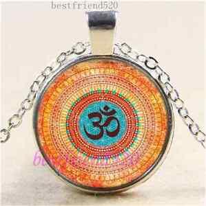 Om-Mandala-Foto-Cabujon-Tibet-Plata-Cadena-Colgante-Collar-De-Cristal