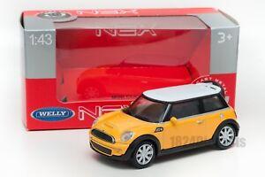 MINI-COOPER-S-GIALLA-Welly-scala-44010-1-43-modello-Auto-Giocattolo-Bambino-Regalo