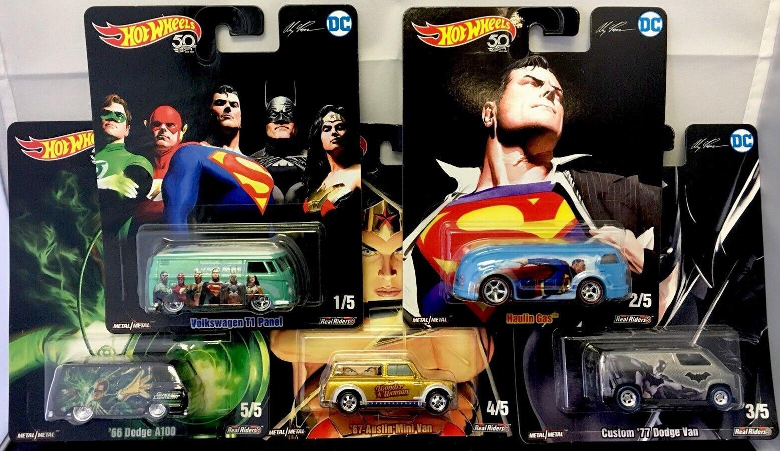 HOT WHEELS 2018 POP CULTURE DC COMICS SUPERMAN BATMAN SET OF 5  ALEX ROSS