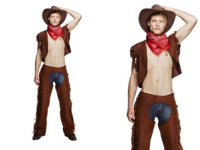 Sexy Cowboy Mens Fancy Dress Costume Stripper Hen Night Dream Boy Cowboy  sc 1 st  eBay & Smiffys Fever Male Ride EM High Cowboy Costume With Waistcoat Chaps ...