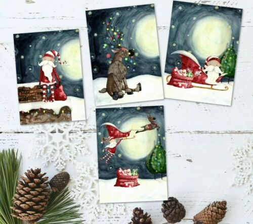 8 tonto Santa /& Rudolph Navidad ATC Etiquetas//Toppers