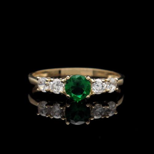 1.00tcw créé Vert Émeraude /& Bague Diamant 14K Or Jaune 5-Stone band