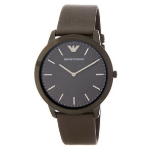 100-New-Emporio-Armani-AR2483-Men-039-s-41mm-Case-Watch-Analog-Gunmetal-Leather