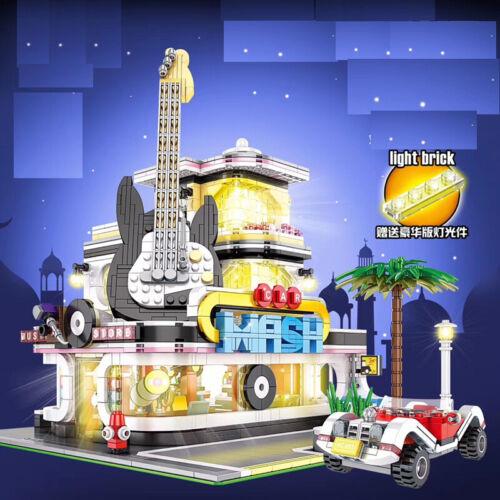 2168PCS City Street Guitar Shop Building Blocks Bricks Toy Model Set Light BN