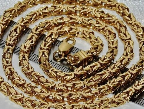 9CT YELLOW GOLD ON SILVER 30 INCH SQUARE BYZANTINE SOLID LINK CHAIN MENS //LADIES