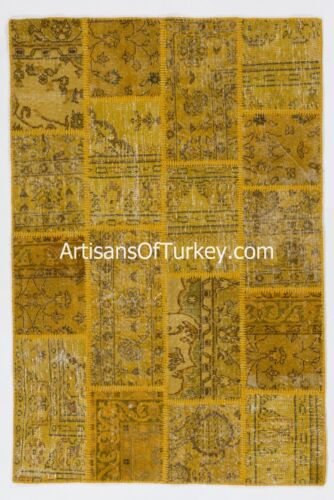 Handmade Modern Overdyed Turkish Wool Patchwork Rug, Available in Any Size&Color
