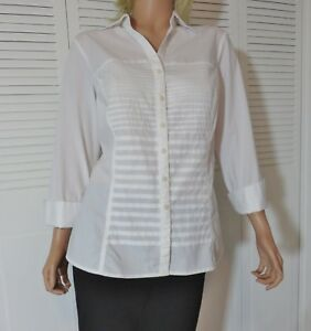 Signature By Larry Levine Women S Pintucked Blouse Top White French