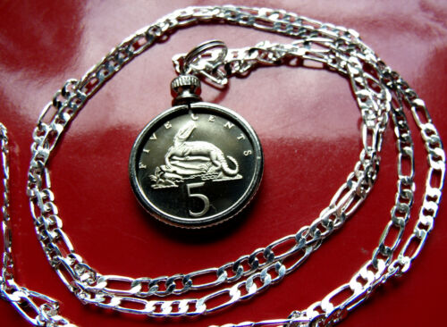 """JAMAICAN Snapping CROCODILE  Proof Pendant on a 22/"""" 925 Sterling Silver Chain."""