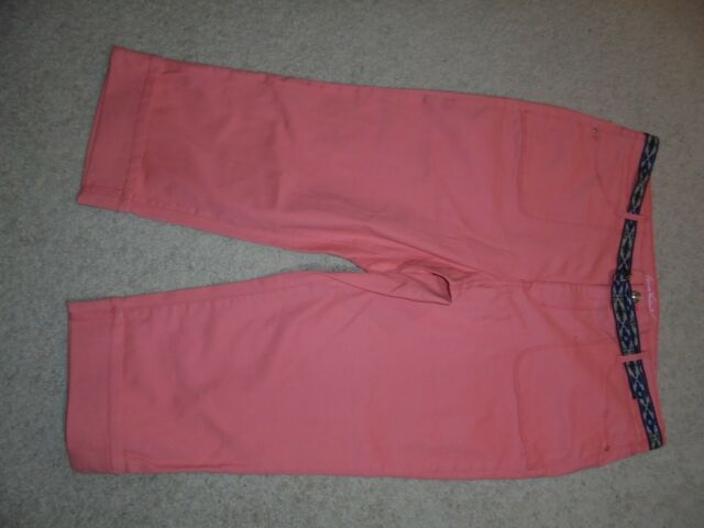 223ea9b7c6db Sz 16 GLORIA VANDERBILT Peach Pink Salmon Melon PATTY BELTED CAPRI Colored  Denim