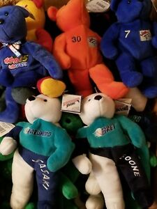 Plush stuffed beanie bear doll CHOOSE YOUR PLAYER TEAM MLB NCAA NFL NBA NASCAR