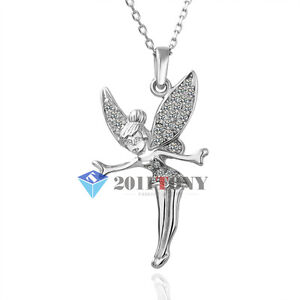 Tinkerbell pendant necklace use swarovski crystal 18k white gold gp image is loading tinkerbell pendant necklace use swarovski crystal 18k white aloadofball Gallery