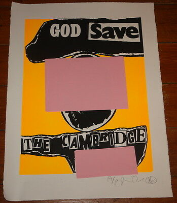 JAMIE REID GOD SAVE SIGNED ORANGE 3 COLOUR WAY SCREEN PRINT SEX PISTOLS PUNK