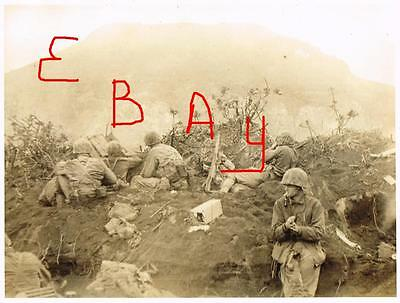 WWII HUGE 11X14 PHOTO MARINES FIRE ON JAPANESE  MT. SURIBACHI IWO JIMA 1945 LOOK