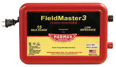 Fieldmaster 3 Electric Fence Charger Low Impedance 15-Mile Plug-In