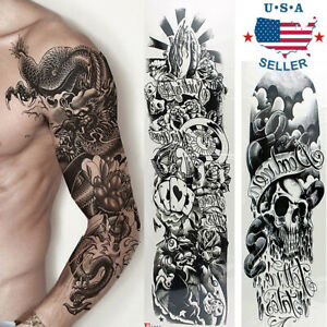 5 Sheets Temporary Tattoo Waterproof Large Arm Body Art Tattoos Sticker Sleeve Ebay