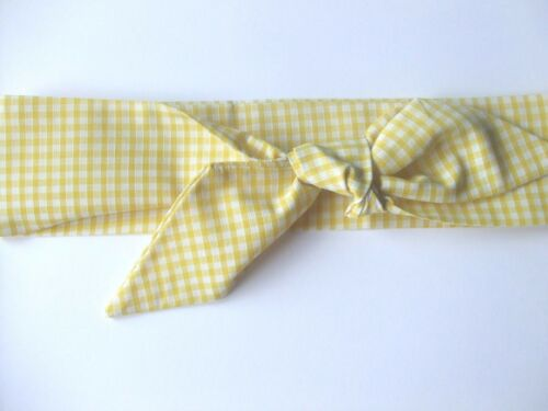 Top knot,Scarf Yellow Gingham Head wrap,point scarf